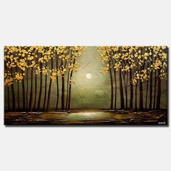 canvas print of green forest golden leaves painting textured landscape art