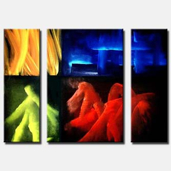 triptych abstract blue yellow red yellow
