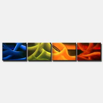 multi panel red blue green sensual painting