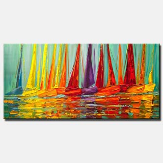 large colorful modern sailboats textured painting