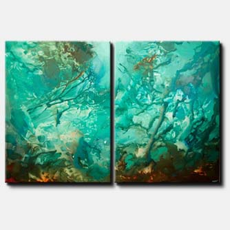large turquoise abstract art