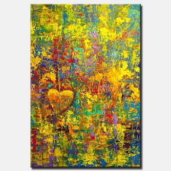 canvas print of huge colorful textured abstract art