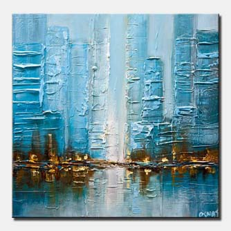 canvas print of blue city abstract painting