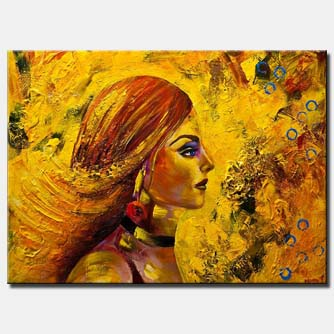 modern yellow portrait woman abstract painting
