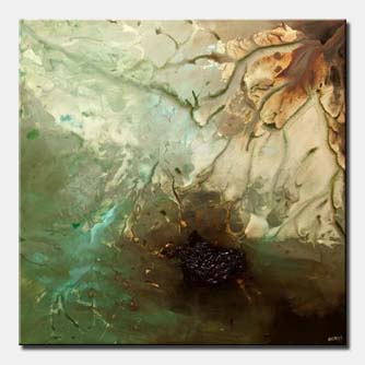 canvas print of original green brown abstract art