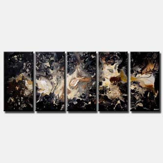 canvas print of black galaxy starry night abstract painting