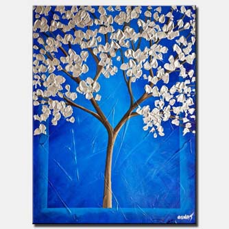 canvas print of cherry blossom painting blue silver blooming tree painting