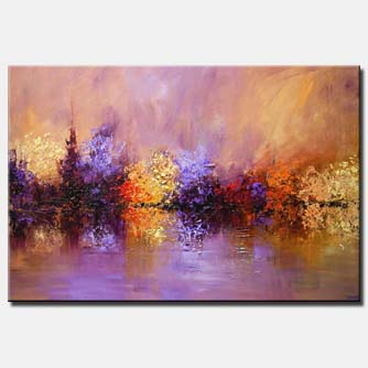 large modern textured landscape painting lavender blooming trees