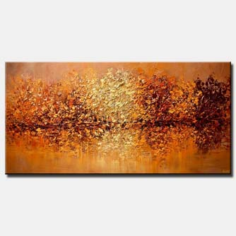 modern textured orange blooming trees painting