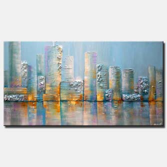 canvas print of modern textured light blue city painting