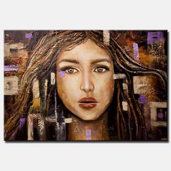 canvas print of textured abstract portrait painting