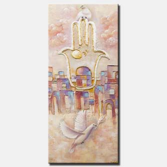 canvas print of Jerusalem painting textured gold Jerusalem painting