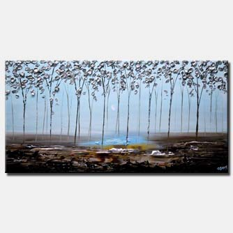 canvas print of modern textured silver blooming trees abstract painting