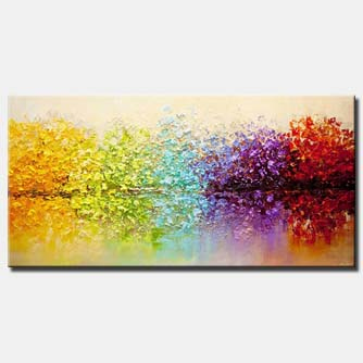 canvas print of heavy textured blooming trees painting