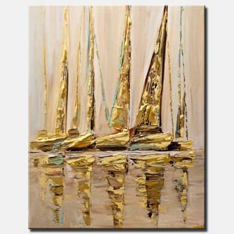 canvas print of textured modern sailboats painting GOLD
