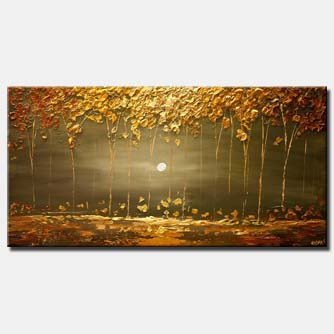 golden landscape painting modern textured blooming trees