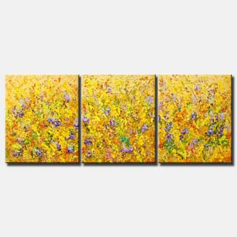 canvas print of textured abstract art colorful blooming flowers painting