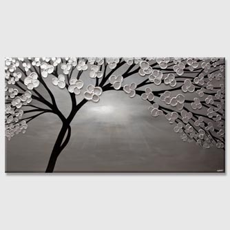 abstract silver tree painting