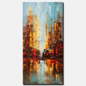 modern palette knife abstract art city painting