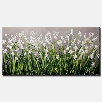 canvas print of modern blooming white flowers painting blossom abstract art