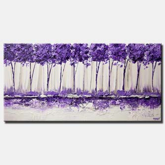 purple landscape palette knife painting