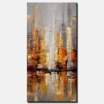 gray city painting textured abstract city
