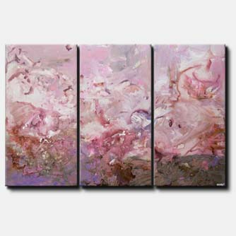 canvas print of pink gray abstract art