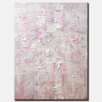 canvas print of pink white textured abstract art