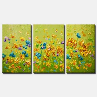 canvas print of green floral painting green abstract art