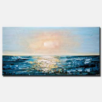 canvas print of teal sunrise abstract painting seascape painting