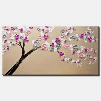 canvas print of original modern blooming tree painting