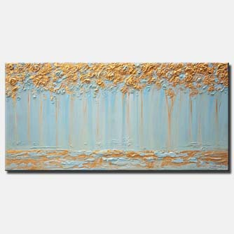 golden light blue trees painting