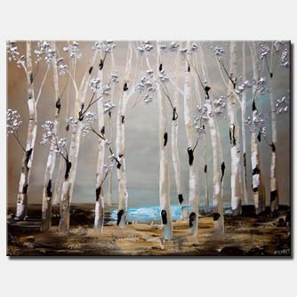 abstract birch trees painting