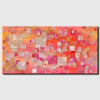 canvas print of geometric pink orange print on canvas