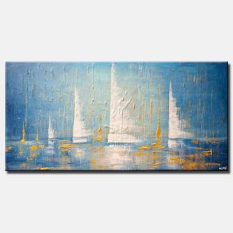 canvas print of marina sailboats painting