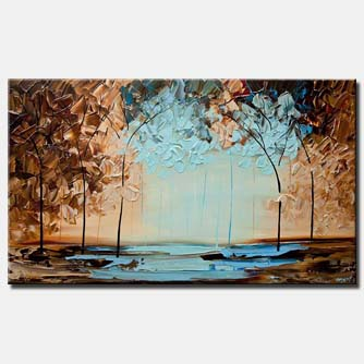 canvas print of modern-textured-blue-brown-blooming-trees-painting