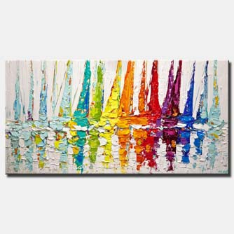 canvas print of colorful modern textured sailboats painting
