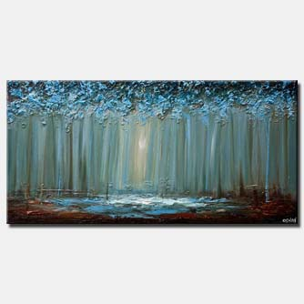 blue forest abstract painting