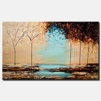 blooming forest painting heavy textured brown blue colors painting