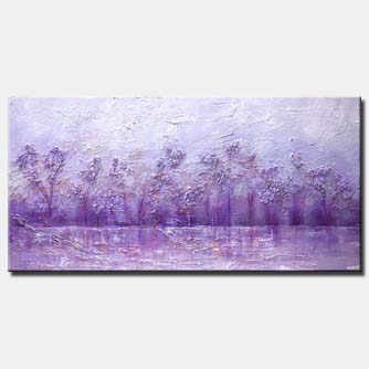 violet landscape abstract painting river blooming trees art