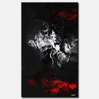 canvas print of black white and red modern abstract painting