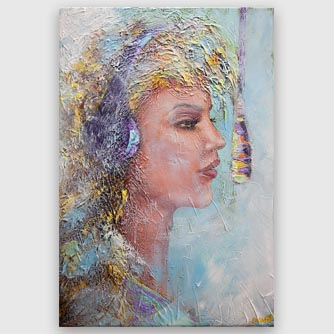 abstract singer recording woman portrait painting