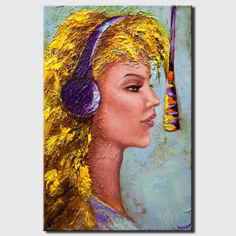 canvas print of abstract singer recording woman portrait painting