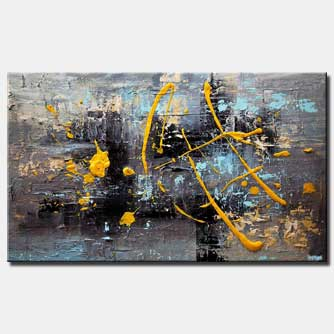 heavy textured gray yellow abstract art