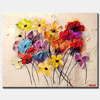 colorful flowers textured abstract painting