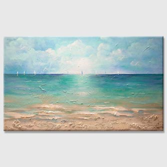 ocean sailboats caribbean abstract painting