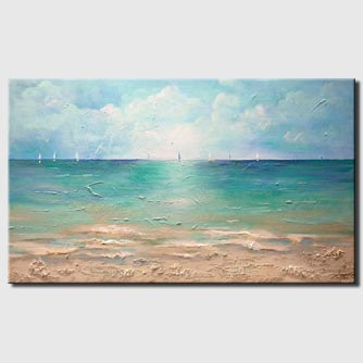 canvas print of ocean sailboats caribbean abstract painting