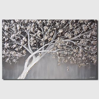 textured painting of a silver tree