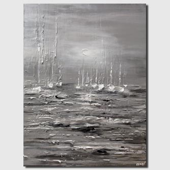 gray silver textured sailboats abstract painting