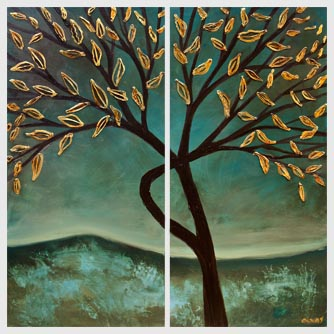 green teal gold blooming tree abstract painting